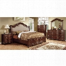 Furniture of America Marcella 4 Piece King Bedroom Set in Brown Cherry