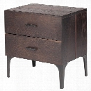 Nuevo Prana 2 Drawer Nightstand in Seared Brown