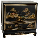 Oriental Furniture Lacquer Nightstand in Black Lacquer