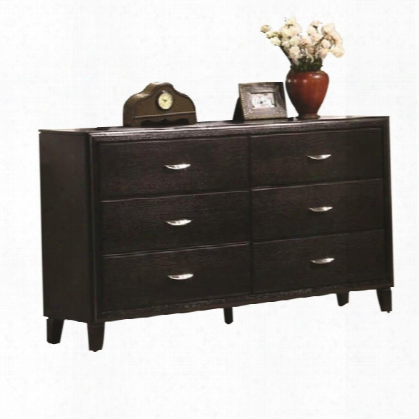 Coaster Nacey 6 Double Drawer Dresser In Brown Black Stain