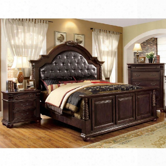 Furniture Of America Catherine 3 Piece Leatherette King Bedroom Set