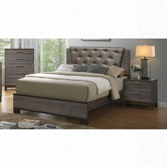 Furniture Of America Charlsie 3 Composition Upholstered King Bedroom Set In Antique Gray