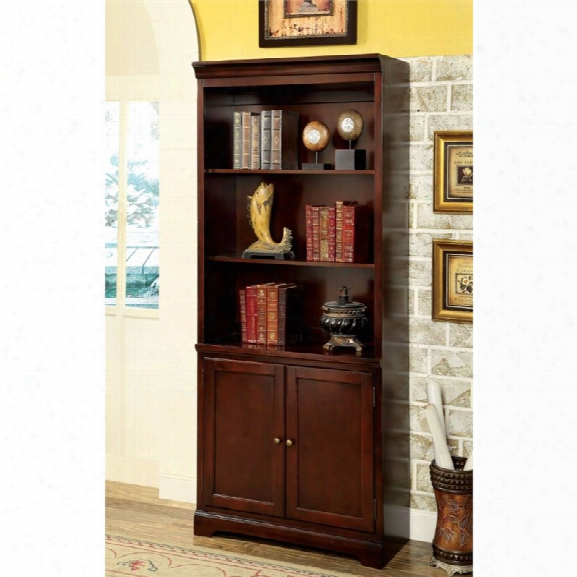 Furniture Of America Klay Transitional 3 Shelf Bookcase In Cherry