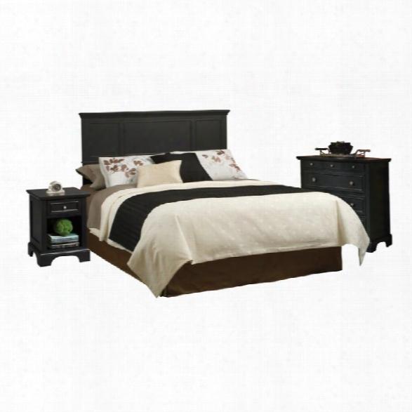 Home Styles Bedford Queen Wood Panel Headboard 3 Piece Bedroom Set