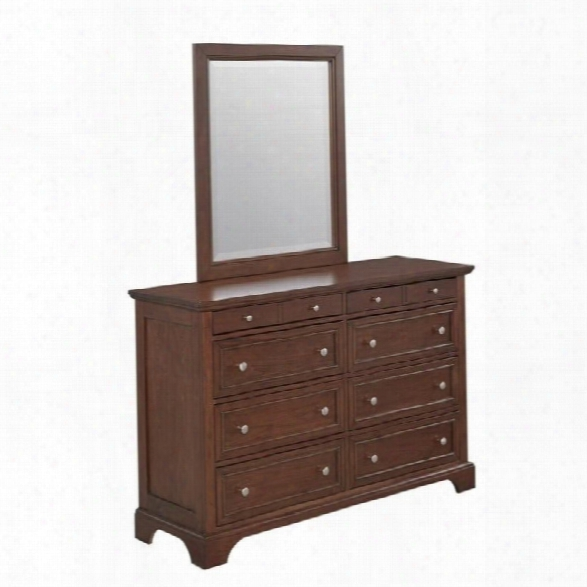 Home Styles Chesapeake 8 Drawer Double Dresser And Mirror In Cherry