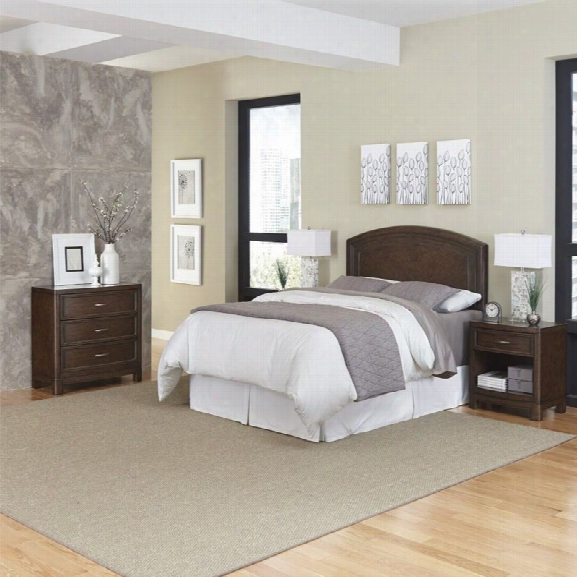 Home Styles Crescent Hill 4 Piece Full Queen Bedroom Set In Tortoise Shell