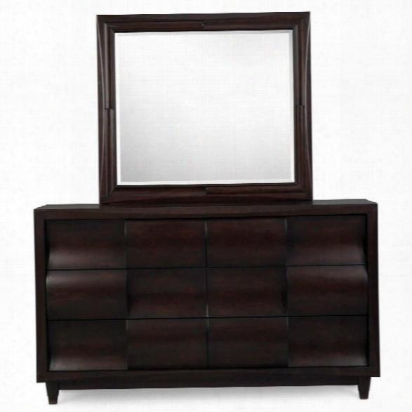 Magnussen Fuqua Dresser And Mirror Set In Black Cherry