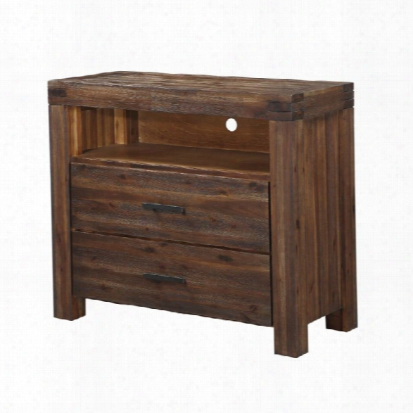 Modus Meadow 2 Drawer Solid Wood Media Chest In Brick Brown