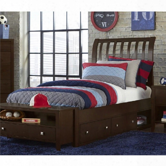 Ne Kids Pulse Twin Storage Sleigh Bed In Chocolate