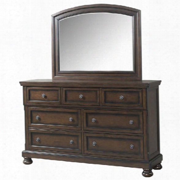 Picket House Furnishings Kingsley Dresser And Mirror Set In Walnut