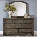 Liberty Furniture Modern Country Dresser and Mirror Set in Brown