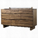 Modus Ocean 6 Drawer Solid Wood Dresser in Natural Sengon
