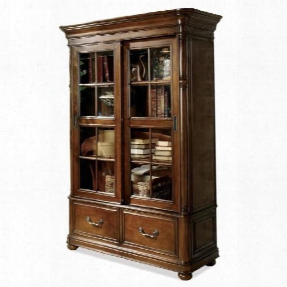 Riverside Furniture Bristol Court Sliding Door Bookcase In Cognac Cherry