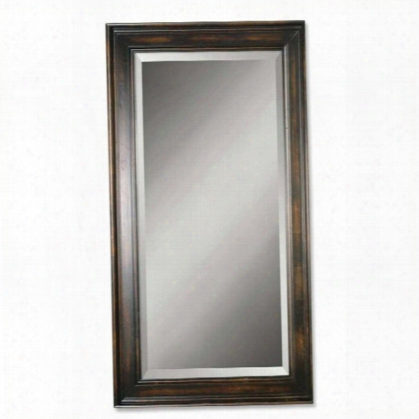 Uttermost Palmer Dark Wood Mirror In Distressed Black Stain