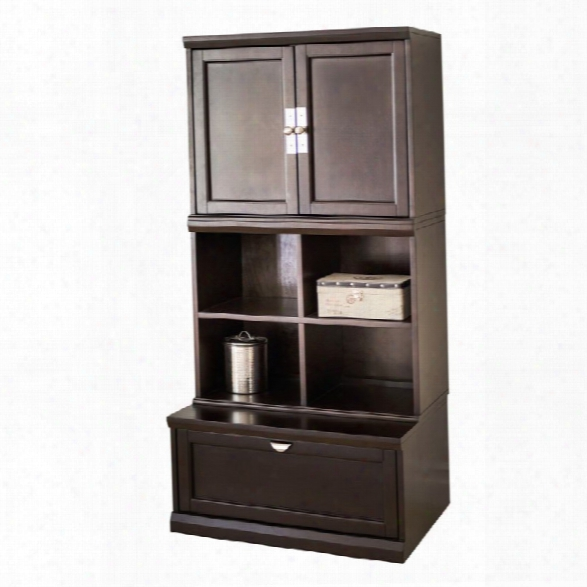 Abbyson Living Nadia 3 Piece Zayneular Bookase Wall In Espresso