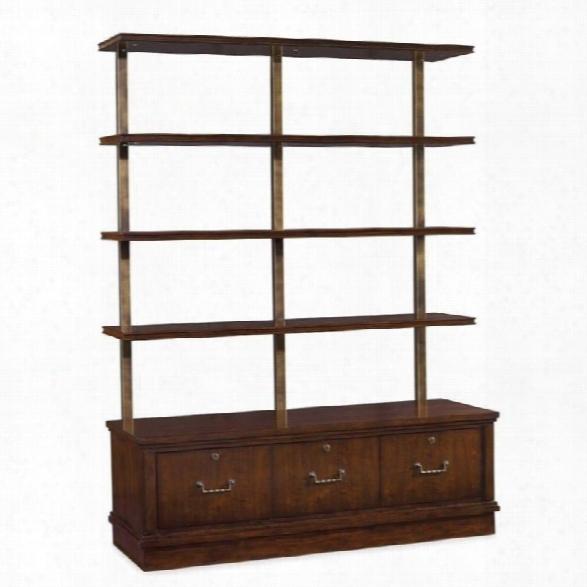 Hooker Furniture Palisade 3-drawer 4-shelf Bookcase In Walnut