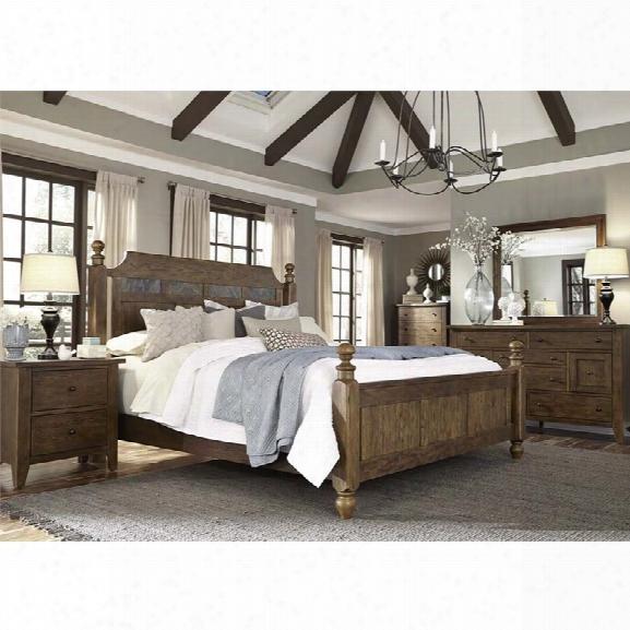 Liberty Furniture Hearthstone 5 Piece Queen Poster Bedroom Set In Oak