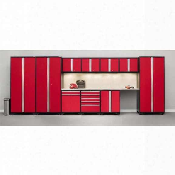 Newage Pro Series 12 Piece Garage Bamboo Worktop Cabinet Set In Red