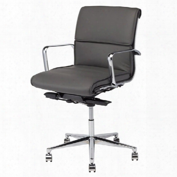 Nuevo Lucia Faux Leather Low Back Office Chair In Gray