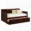 Furniture of America Liam Twin Daybed with Trundle in Cherry