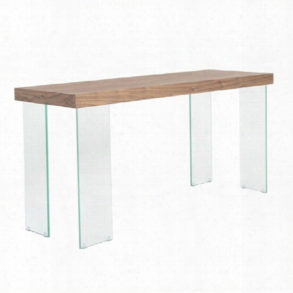 Eurostyle Cabrio Console Table In Clear And Walnut