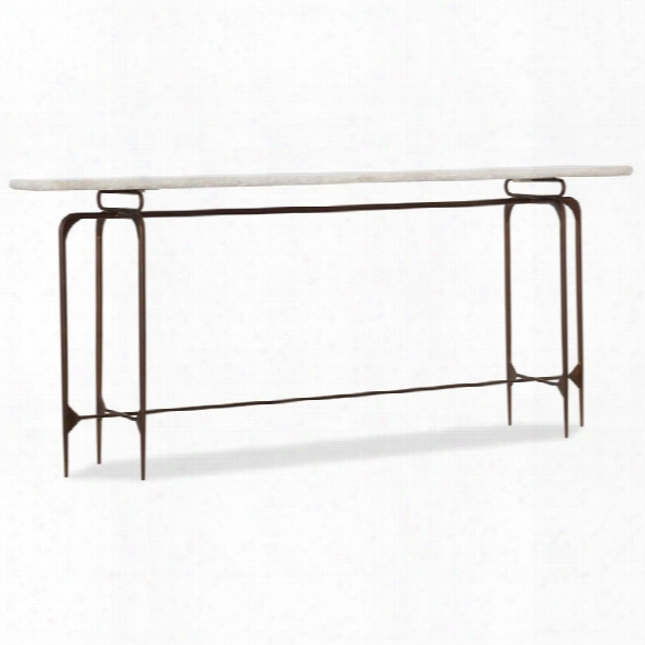 Hooker Furniture Skinny Marble Top Console Table In Beige And Bronze