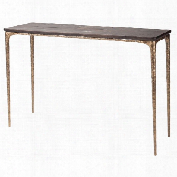 Nuevo Kulu Console Table In Seared Brown And Bronze
