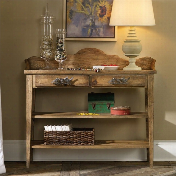 Hooker Sanctuary Thin Console Table In Medium Wood