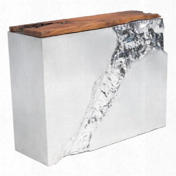 Zuo Luxe Console Table In Natural And Stainless Steels