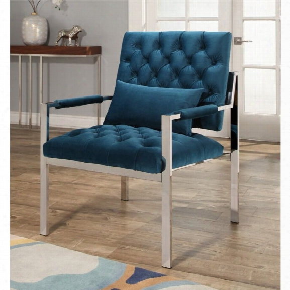 Abbyson Living Gavin Stainless Steel Accent Chair In Teal