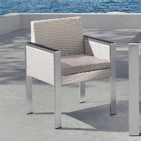 Armen Living Watercube Patio Rattan Dining Chair In White (set Of 2)