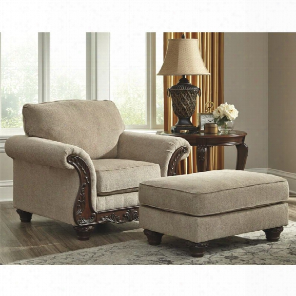 Ashley Laytonsville Accent Chair With Ottoman In Pebble