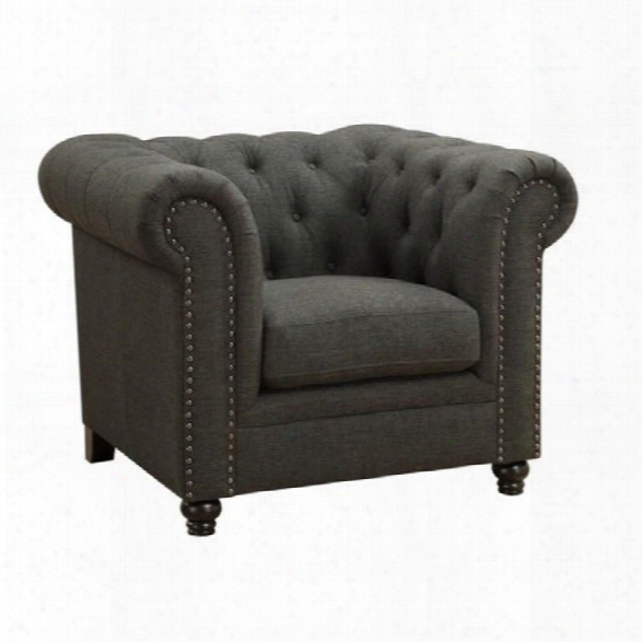 Coaster Roy Button Tufted Chair In Gray