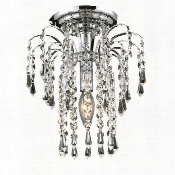 Elegant Lighting Falls 9 Elements Crystal Flush Mount In Chrome