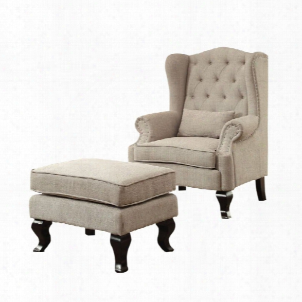 Furniture Of America Petunia 2 Piece Armchair And Ottoman Set In Beige