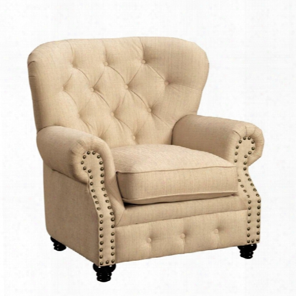 Furniture Of America Villa Upholstered Accent Chair In Ivory