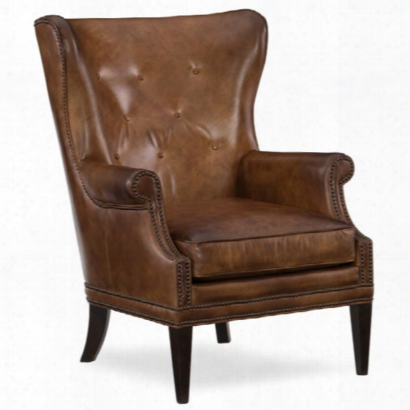 Hooker Furniture Maya Leather Wing Club Chair In Checkmate Pawn