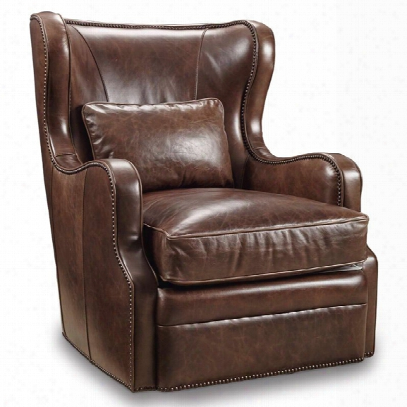 Hooker Furniture Wellington Leather Swivel Club Chair In Brown