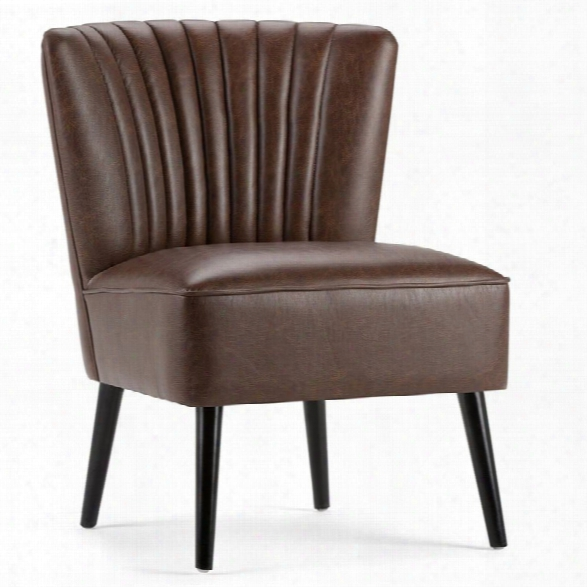Maklaine Accent Chair In Distressed Brown