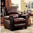 Furniture of America Garry Leather Accent Chair in Dark Brown