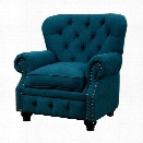 Furniture of America Villa Upholstered Accent Chair in Teal