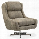 Hooker Furniture Miller Leather Swivel Club Chair in Gray