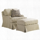 Lexington Coventry Hills Stowe Slipcover Swivel Accent Chair in Khaki