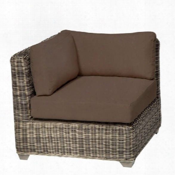 Tkc Cape Cod Outdoor Wicker Corner Chair In Cocoa (set Of 2)