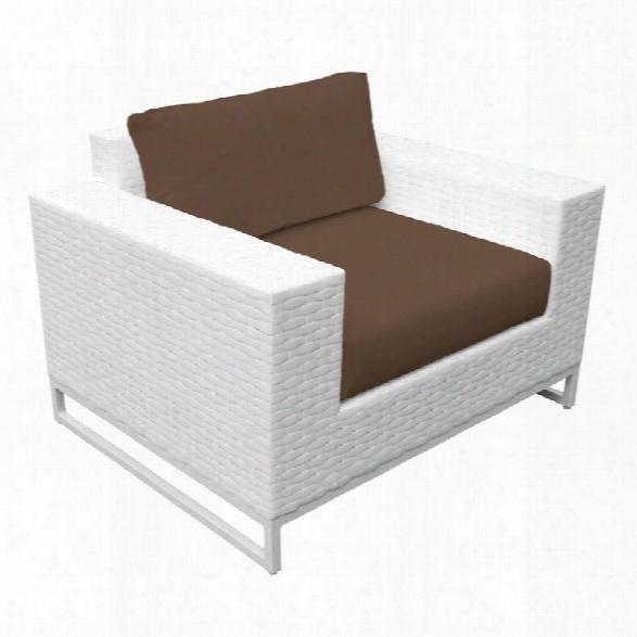 Tkc Miami Patio Wicker Club Chair In Dark Brown