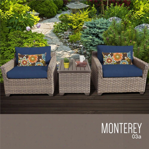 Tkc Monterey 3 Piece Patio Wicker Conversation Set In Navy