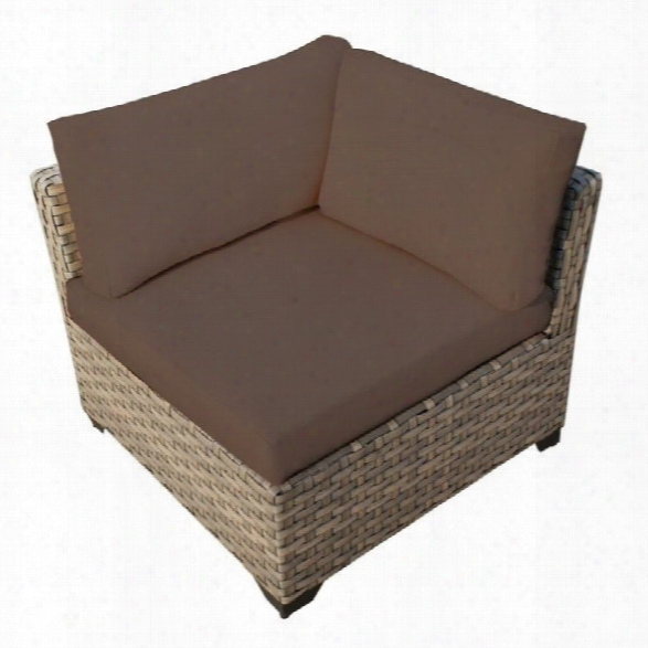 Tkc Monterey Outdoor Wicker Corner Chair In Cocoa (set Of 2)
