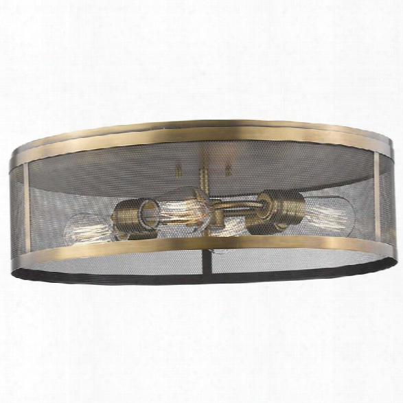 Z-lite Meshsmith 4 Light Flush Mount In Natural Brass
