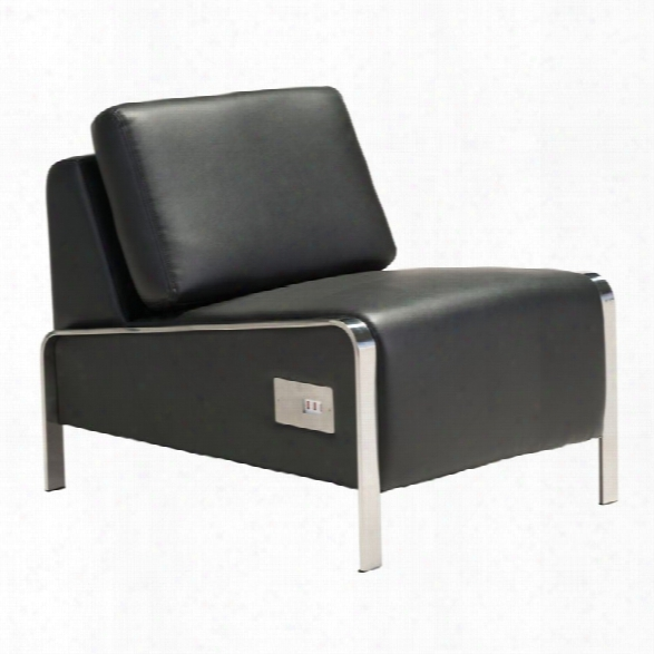Zuo Thor Faux Leather Armless Accent Chair In Black