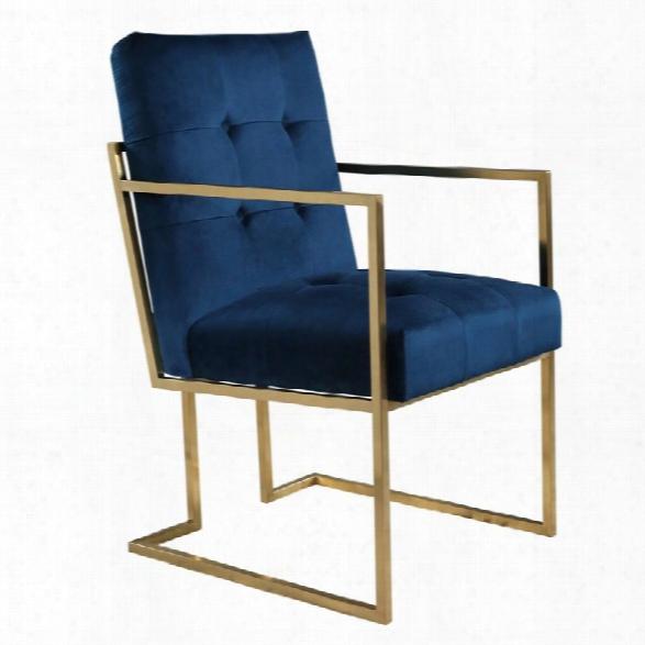 Abbyson Living Chapel Velvet Arm Chair In Navy